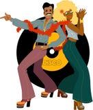 Dançarinos do disco de volta à parte traseira ilustração royalty free