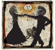 Dançarinos do meio-dia, noite do vudu - um vetor tirado mão ilustração do vetor