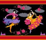 Dançarinos espanhóis na roupa nacional com fã e capa de chuva em suas mãos no formulário da flor e do pássaro de voo, flamenco de ilustração royalty free