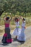 Dançarinos fêmeas do flamenco em vestidos coloridos imagem de stock
