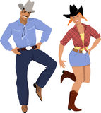 dançarinos País-ocidentais ilustração royalty free