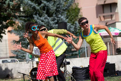 Dançarinos sincronizados Fotografia de Stock