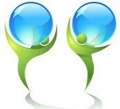 Dançarinos verdes com gotas da água Fotografia de Stock