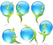 Dançarinos verdes com gotas da água Fotos de Stock Royalty Free