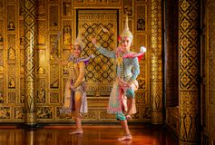 Dan?a de Tail?ndia da cultura da arte no khon mascarado no ramayana da literatura, macaco cl?ssico tailand?s mascarado, Khon, Tai fotos de stock royalty free