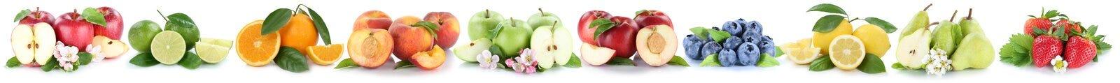 Dan fruto las manzanas anaranjadas de la manzana que dan fruto las naranjas en fila aislado en wh Imagen de archivo libre de regalías