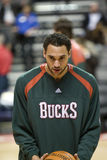 Dan Gadzuric of the Milwaukee Bucks. Warms up before a game against the Detroit Pistons, in Auburn Hills, Michigan Stock Images