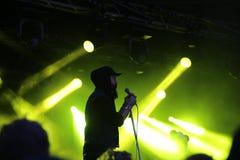 Dan le Sac Vs Scroobius Pip que canta em Leefest Fotografia de Stock