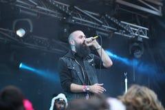 Dan le Sac Vs Scroobius Pip som sjunger på Leefest royaltyfri fotografi