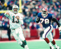 Dan Marino en Bruce Smith Stock Foto's