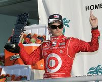 2006 Toyota Indy 300. Dan Weldon celebrates winning the Toyota Indy 300 at Homestead Miami Speedway in Homestead, Florida on March 26, 2006 royalty free stock photography