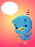 Dança azul do pássaro no fundo vermelho Imagem de Stock Royalty Free