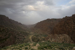 Dana biosphere reserve. View through Wadi Dana, with mountains on the side stock photo
