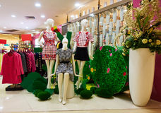 Dana boutiqueklädlagret, kvinnor som kläder shoppar inre Arkivbilder