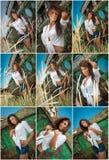 Dana Caucasian posera för modell som är utomhus- framme av ett gammalt fartyg Sexig brunett med vita skjorta- och grov bomullstvi arkivfoton