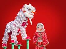 Dança chinesa do traje do leão Fotos de Stock