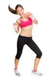 Dança da mulher da aptidão de Zumba Foto de Stock