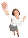 Dança da mulher de negócio do sucesso Fotos de Stock Royalty Free