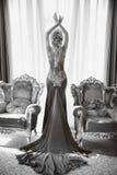 Dana den härliga sinnliga kvinnan i lyxig klänning med lång tra Royaltyfri Bild