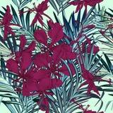 Dana den tropiska palmblad- och blommamodellen för elegant vektor royaltyfri illustrationer