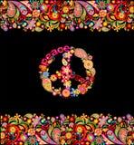 Dana designen med det färgrika blom- sommarlika sömlösa gräns- och hippiefredsymbolet för skjortatryck och partiaffisch på svart  stock illustrationer