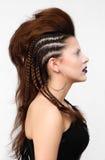 Dana flickan med den yrkesmässiga frisyren, den flätad tråden och makeup Royaltyfri Bild