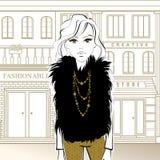Dana flickan på gatan som går till, shoppar royaltyfri illustrationer