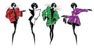 Dana flickan skissa-utformar in fashion ståendekvinnan royaltyfri illustrationer