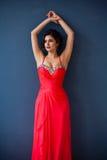 Dana fotoet av den härliga damen i elegant aftonklänning Royaltyfri Bild