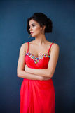 Dana fotoet av den härliga damen i elegant aftonklänning Arkivbilder