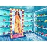 Dana illustrationen av en flicka i en boutique stock illustrationer