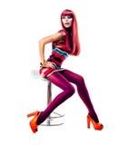 Flickasammanträde på stol Royaltyfria Bilder