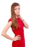 Dana ladyen i rött royaltyfri foto