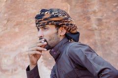 DANA NATURE RESERVE, JORDAN - APRIL 27, 2016: Bedouin man Stock Photography