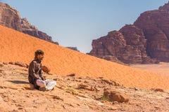 DANA NATURE RESERVE, JORDAN - APRIL 27, 2016: Bedouin man Royalty Free Stock Photos