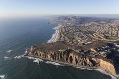 Dana Point Aerial in Southern California. Aerial view of Dana Point in Orange County on the Southern California pacific ocean coast royalty free stock image