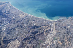 Dana Point California Aerial. Dana Point California coastline aerial royalty free stock photos