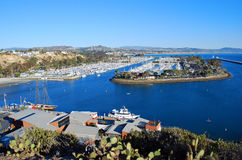 Dana Point Harbor, Southern California. The image shows the spectacular Dana Point Harbor, Dana Point, California. The building at the bottom of the image is stock photography