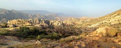 Dana Reserve Wilderness Canyon. Beautiful landscape of the Dana Nature Reserve stock photo