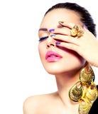 SkönhetMakeup och Manicure Arkivfoto