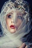 Dana skönhetståenden av den unga härliga unga kvinnan med makeup och fräknar på henne framsidan Royaltyfria Bilder