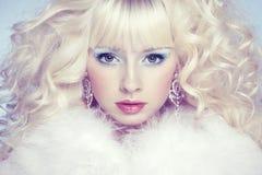 Dana ståenden av en ung härlig blond kvinna. Vintern utformar Royaltyfria Bilder