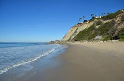 Dana Strand Beach in Dana Point, California. Image shows the north end of Dana Strand Beach in Dana Point, California.Salt Creek Beach Park is on the oher side royalty free stock images