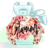 Dana vektorillustrationen med rosa rosor och flaskan av perfum Fotografering för Bildbyråer