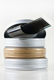 danade gammala tre tins för film royaltyfri bild