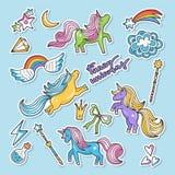 Danade vektorklistermärkear Retro stil för Nineties Enhörning regnbåge andra magiska beståndsdelar royaltyfri illustrationer