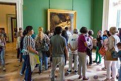 Danae jest Rembrandt ` s obrazem w eremu muzeum, St Pete Obraz Stock