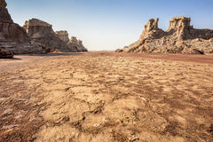 Danakil Depression desert near Dallol in Ethiopia Stock Photography