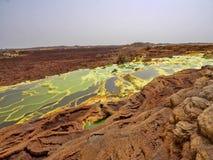 Danakil`s depression dies incredibly bright colors that make salt crystals. Ethiopia. The Danakil`s depression dies incredibly bright colors that make salt stock image