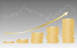 danandepengar i aktiemarknaden Royaltyfri Fotografi